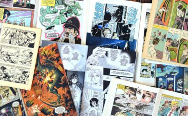 ATHENS GREECE - MARCH 31 2016: Vintage comic books and graphic novels. Comics magazines with drawn illustrations abstract background.
